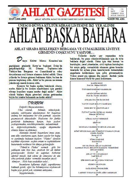 AHLAT GAZETESİ - SAYI 164 - TEMMUZ 2014