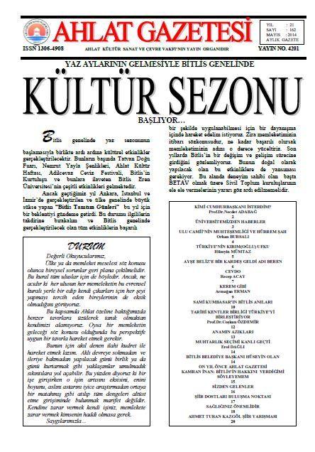 AHLAT GAZETESİ - SAYI 162 - MAYIS 2014