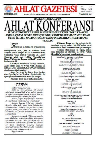 Ahlat Gazetesi - Sayı 181 - Aralık 2015