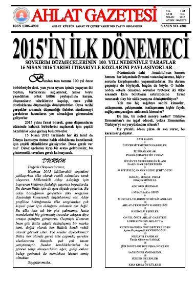 Ahlat Gazetesi Sayı 174 Mayıs 2015