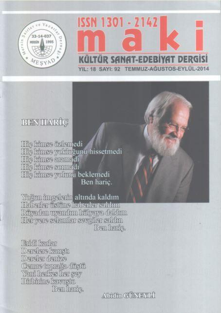 MAKİ DERGİSİ - SAYI 92 - TEMMUZ AĞUSTOS EYLÜL 2014