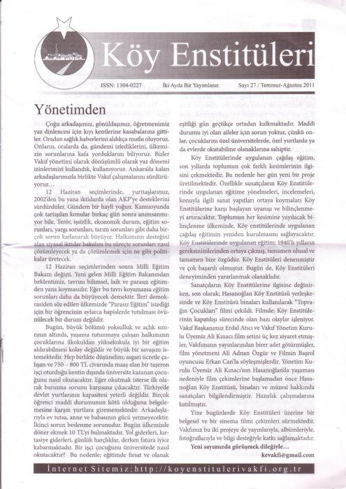KÖY ENSTİTÜLERİ DERGİSİ – SAYI 27 – TEMMUZ AĞUSTOS 2011