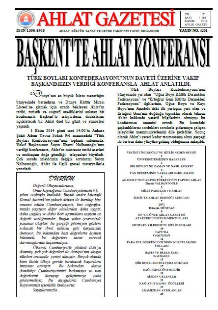 AHLAT GAZETESİ - SAYI 168 - KASIM 2014
