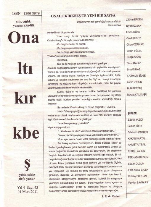 ONALTIKIRKBEŞ DERGİSİ - SAYI 43 - MART 2011