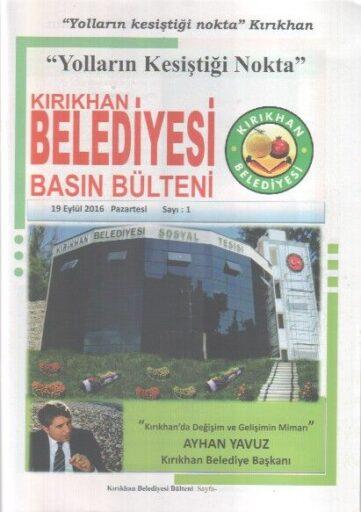 Kırıkhan Belediyesi Basın Bülteni