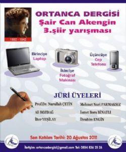 ORTANCA DERGİSİ 3.CAN AKENGİN ŞİİR YARIŞMASINDA DERECEYE GİRENLER