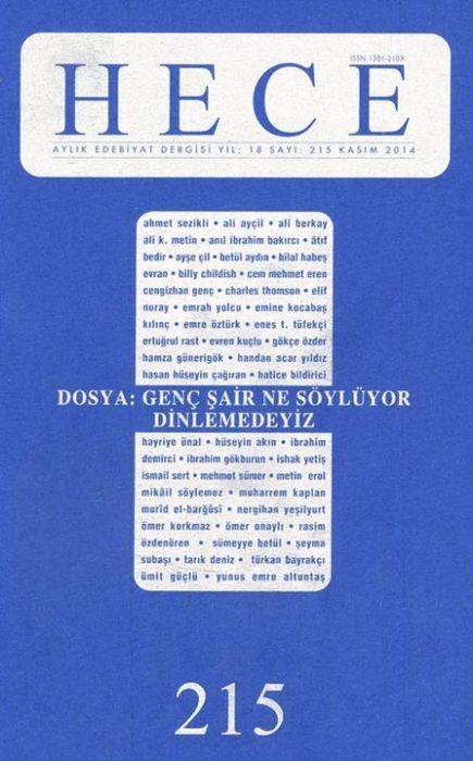 HECE ÖYKÜ DERGİSİ - SAYI 215 - KASIM 2014