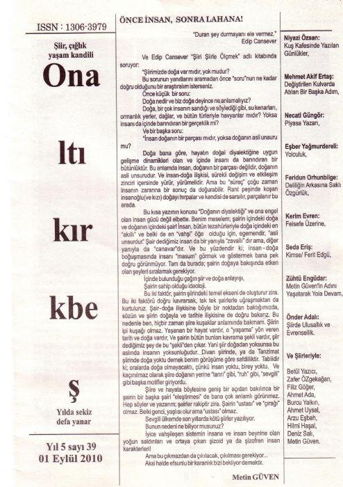 ONALTIKIRKBEŞ DERGİSİ - SAYI 39 - EYLÜL 2010