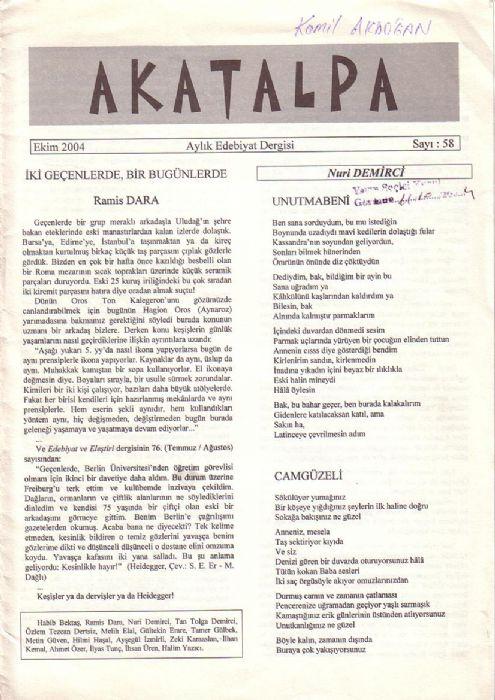 AKATALPA DERGİSİ - SAYI 58 - EKİM 2004
