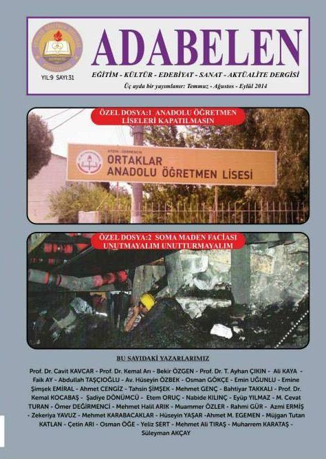 ADABELEN DERGİSİ - SAYI 31 - TEMMUZ AĞUSTOS EYLÜL 2014