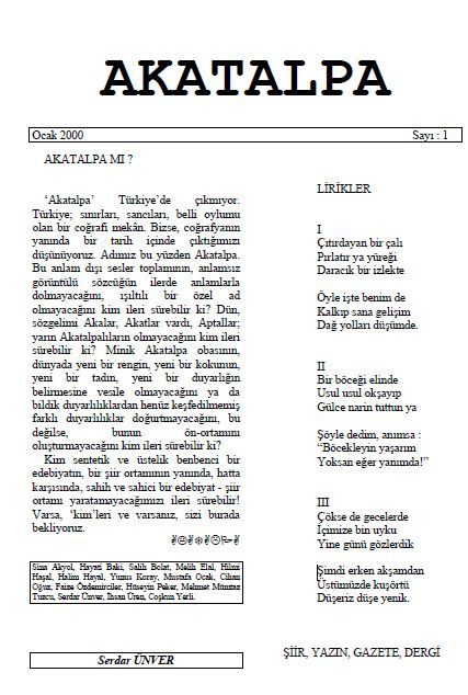 AKATALPA DERGİSİ - SAYI 1 - OCAK 2000