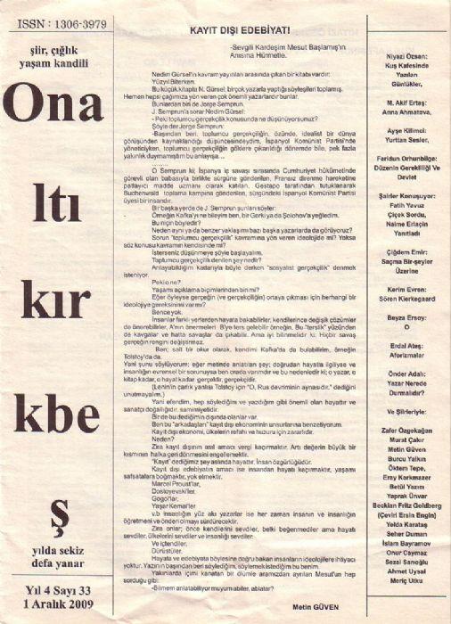 ONALTIKIRKBEŞ DERGİSİ - SAYI 33 - 1 ARALIK 2009