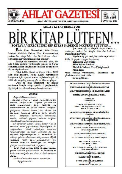 AHLAT GAZETESİ - SAYI 134 - OCAK 2012