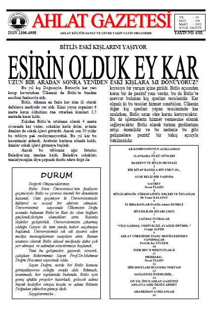 AHLAT GAZETESİ - SAYI 136 - MART 2012