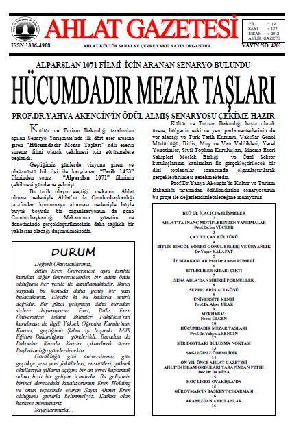 AHLAT GAZETESİ - SAYI 137 - NİSAN 2012