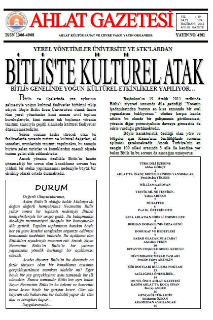 AHLAT GAZETESİ - SAYI 139 - HAZİRAN 2012
