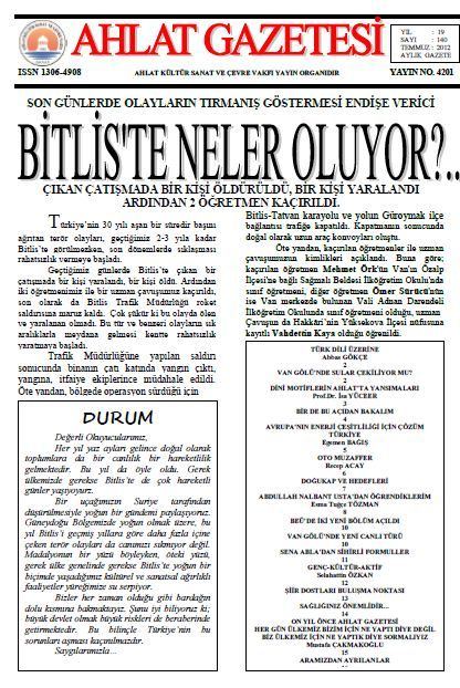 AHLAT GAZETESİ - SAYI 140 - TEMMUZ 2012