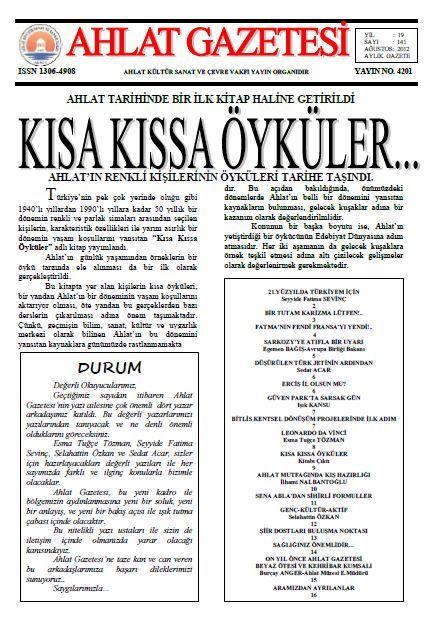 AHLAT GAZETESİ - SAYI 141 - AĞUSTOS 2012