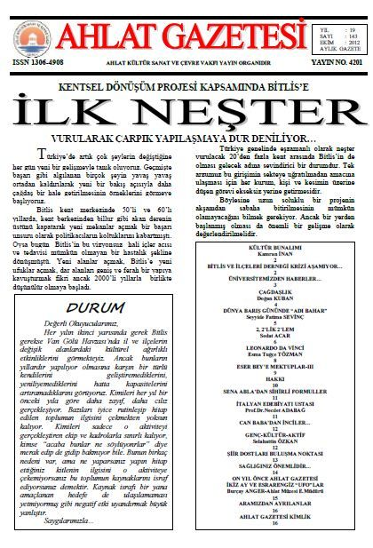 AHLAT GAZETESİ - SAYI 143 - EKİM 2012