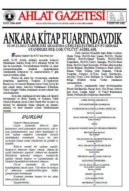 AHLAT GAZETESİ - SAYI 146 - OCAK 2013