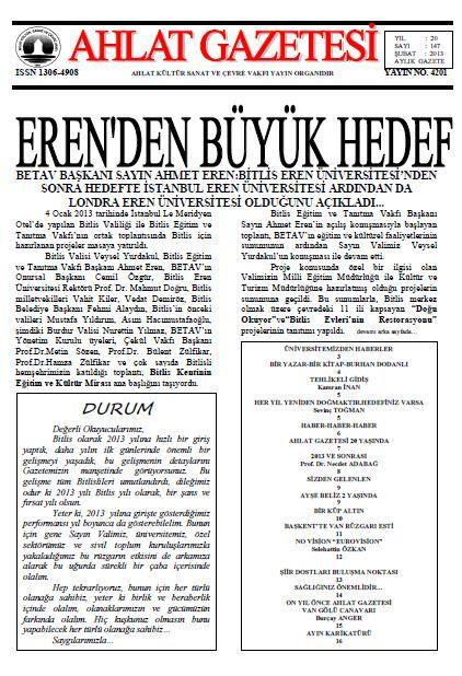 AHLAT GAZETESİ - SAYI 147 - ŞUBAT 2013