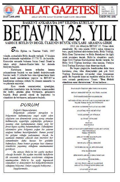 AHLAT GAZETESİ - SAYI 151 - HAZİRAN 2013
