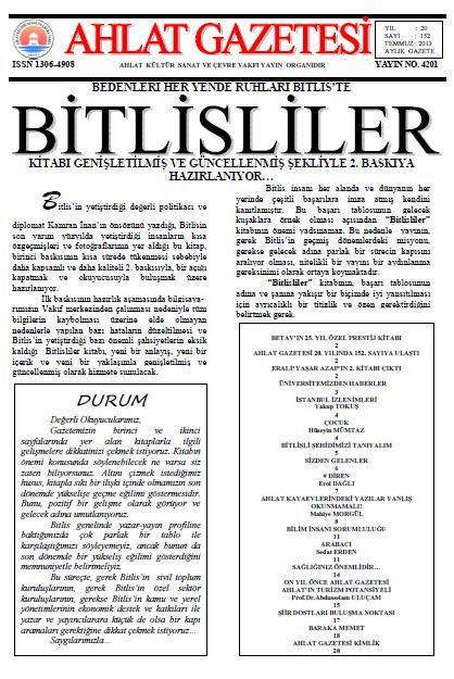 AHLAT GAZETESİ - SAYI 152 - TEMMUZ 2013