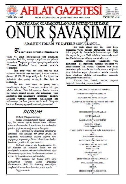 AHLAT GAZETESİ - SAYI 153 - AĞUSTOS 2013