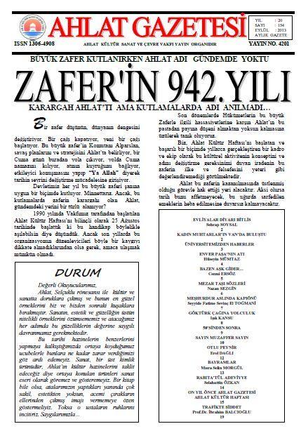 AHLAT GAZETESİ - SAYI 154 - EYLÜL 2013