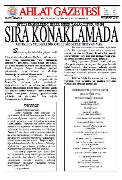 AHLAT GAZETESİ - SAYI 155 - EKİM 2013
