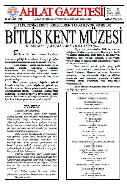 AHLAT GAZETESİ - SAYI 156 - KASIM 2013
