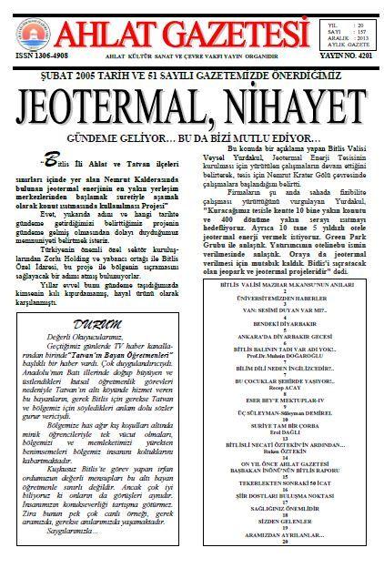 AHLAT GAZETESİ - SAYI 157 - ARALIK 2013