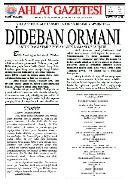 AHLAT GAZETESİ - SAYI 158 - OCAK 2014