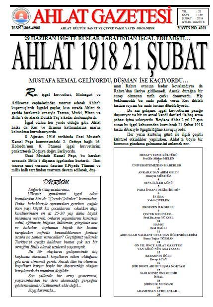 AHLAT GAZETESİ - SAYI 159 - ŞUBAT 2014