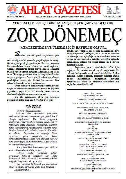 AHLAT GAZETESİ - SAYI 160 - MART 2014
