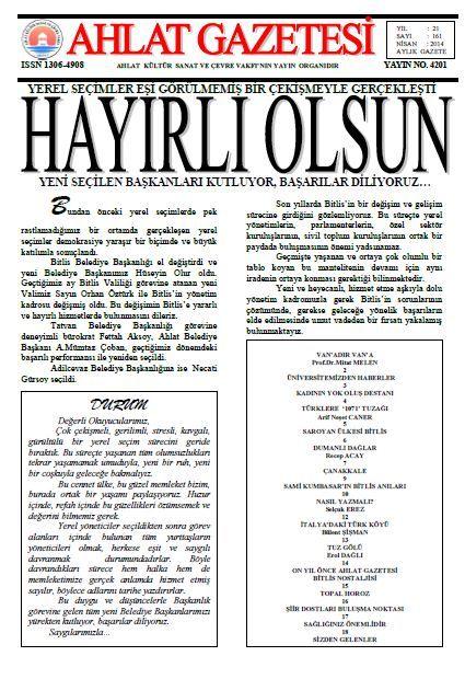 AHLAT GAZETESİ - SAYI 161 - NİSAN 2014