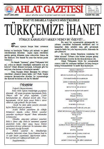 AHLAT GAZETESİ - SAYI 163 - HAZİRAN 2014