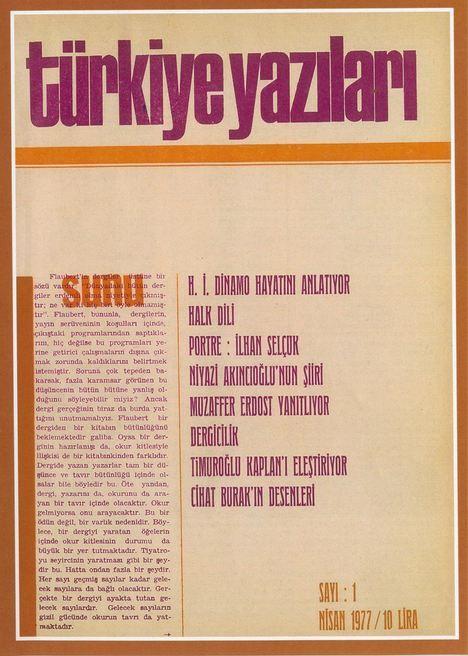 TÜRKİYE YAZILARI DERGİSİ - SAYI 1 - NİSAN 1977