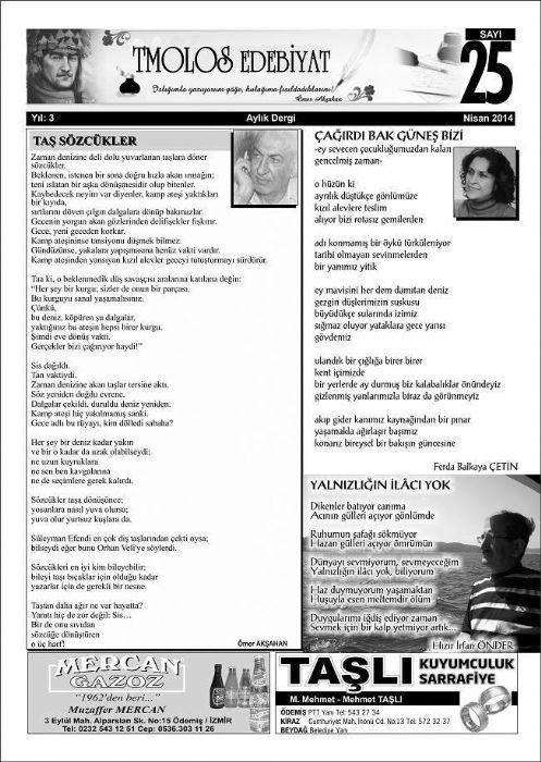 TMOLOS DERGİSİ - SAYI 25 - NİSAN 2014