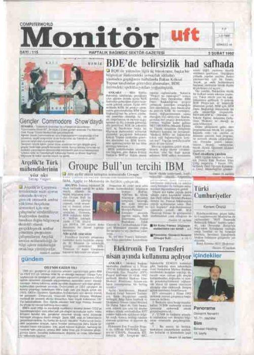 MONİTÖR - HAFTALIK BAĞIMSIZ SEKTÖR GAZETESİ - SAYI 115 - 3 ŞUBAT 1992