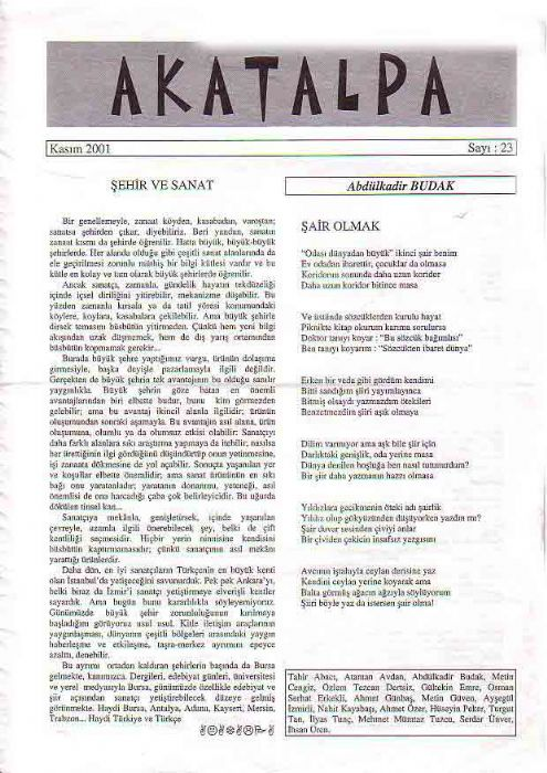 AKATALPA DERGİSİ - KASIM 2001 - SAYI 21