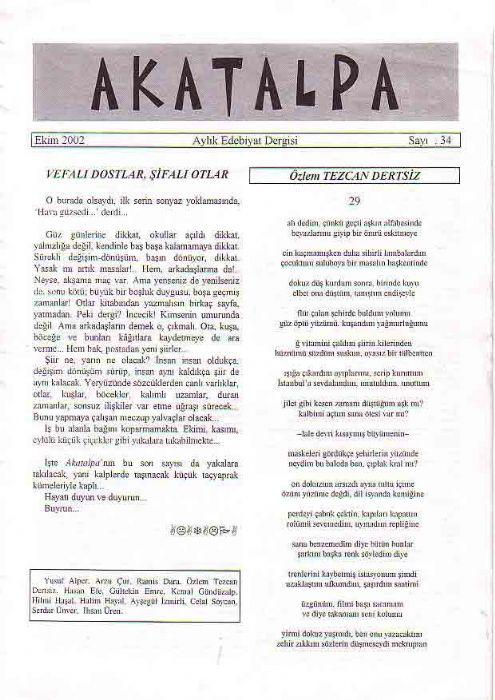 AKATALPA DERGİSİ - EKİM 2002 - SAYI 34
