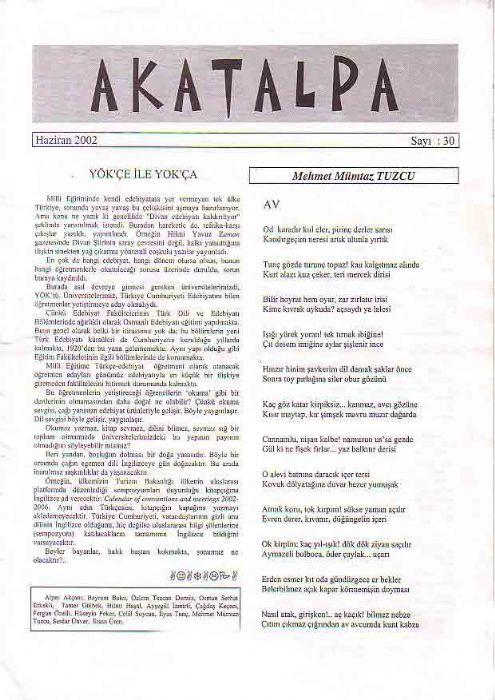 AKATALPA DERGİSİ - HAZİRAN 2002 - SAYI 30