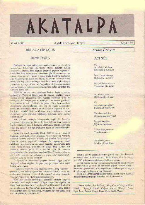 AKATALPA DERGİSİ - MART 2003 - SAYI 39