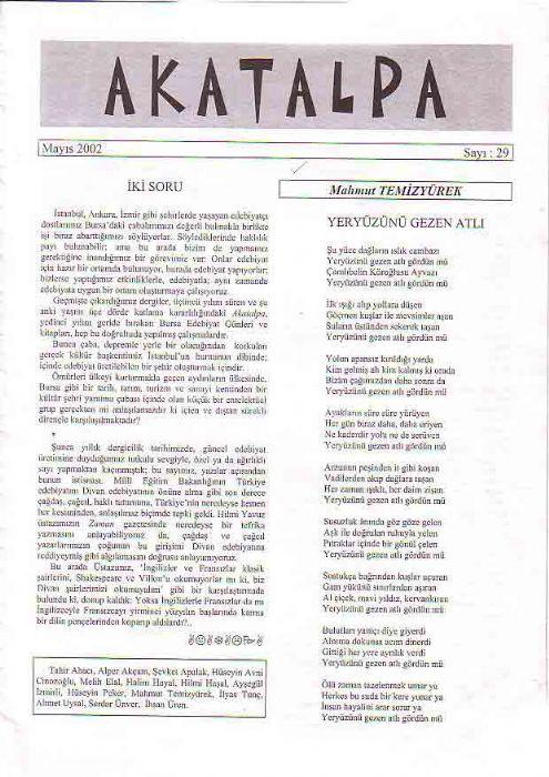 AKATALPA DERGİSİ - MAYIS 2002 - SAYI 29