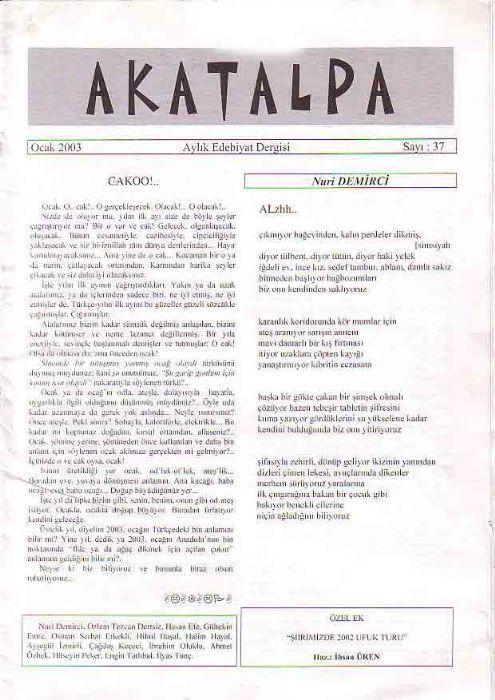 AKATALPA DERGİSİ - OCAK 2003 - SAYI 37