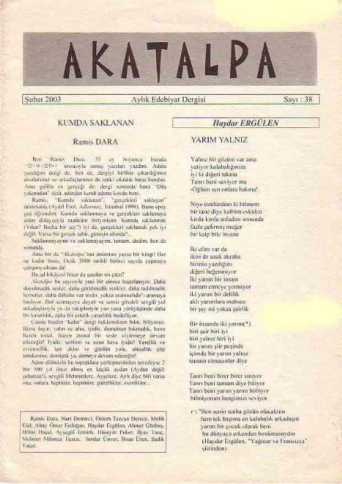 AKATALPA DERGİSİ - ŞUBAT 2003 - SAYI 38
