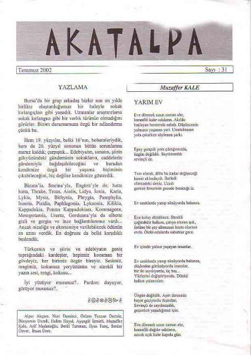 AKATALPA DERGİSİ - TEMMUZ 2002 - SAYI 31