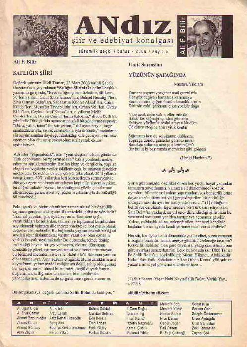 ANDIZ - ŞİİR VE  EDEBİYAT KONALGASI - BAHAR 2006 - SAYI 3