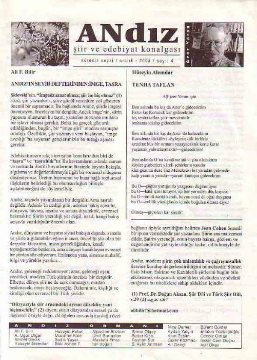 ANDIZ - ŞİİR VE  EDEBİYAT KONALGASI - ARALIK 2005 - SAYI 4